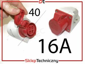 Gniazdo siła siłowe 4x 16A natynkowe PROST/G16A-4P